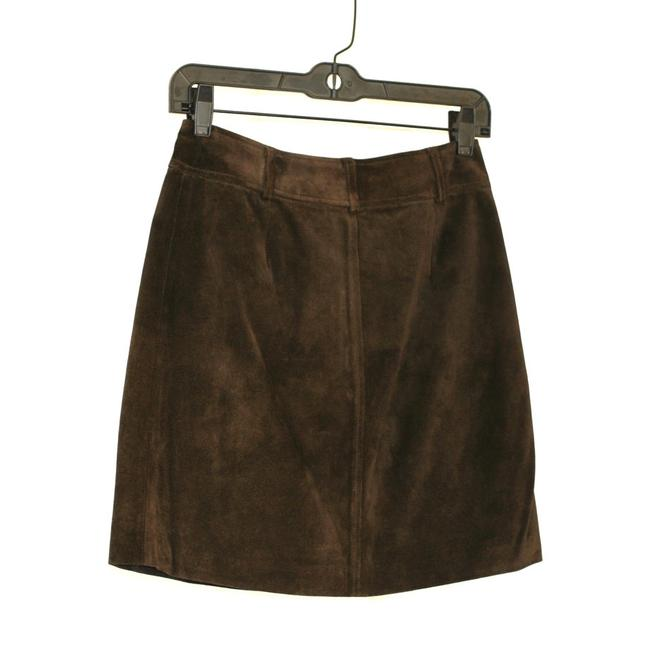Ann Taylor Suede Leather Mini Mini Skirt Brown Image 4