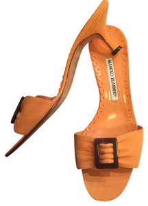Manolo Blahnik Orange Mules