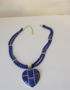 Mine Finds by Jay King Mine Finds By Jay King Sterling Silver Heart Shape Lapis Pendant with Beaded Necklace 17