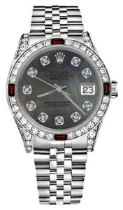 Rolex Women's Rolex 31mm Datejust Black MOP Dial with Ruby & Diamonds