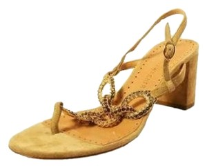 Alexa Wagner Crystal Wedge Suede Evening Tan Sandals