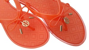 Tory Burch Thong Jelly Summer Logo Charm Bow Orange Sandals