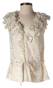 Robert Rodriguez Gold Metallic Ruffle Top Ivory