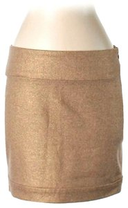 Diane von Furstenberg Metallic Wool Blend Mini Skirt Gold