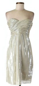 Vera Wang Lavender Label Ivory Metallic Dress