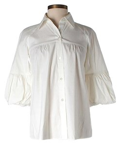 Theory Pleated Ruffle Button Down Shirt White
