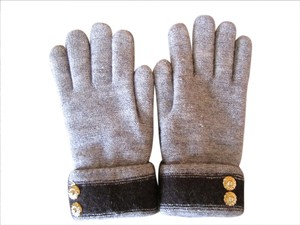 Stylish and very warm like new brown soft gloves with gold button detail