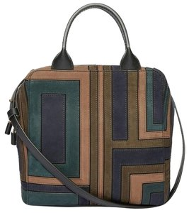 Tory Burch Suede Patchwork Leather Satchel in Green/Navy/Brown