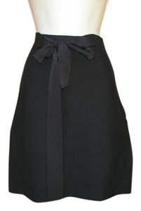 Lapis Bandage Pencil Belted Ribbon Mini Skirt Black