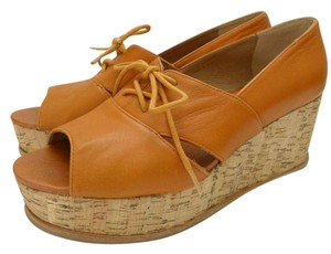 Fiel Platform Cork Wedges Tan Platforms