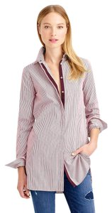 J.Crew Striped Endless Button Down Shirt Burgundy