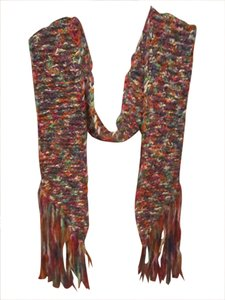 Thick soft chunky knit fringed winter scarf Multi color