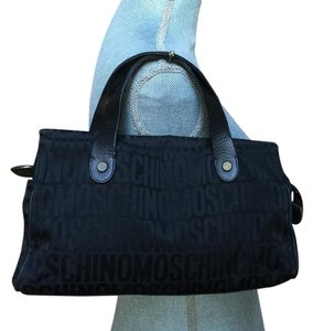 Moschino Logo Tote Satchel in Black