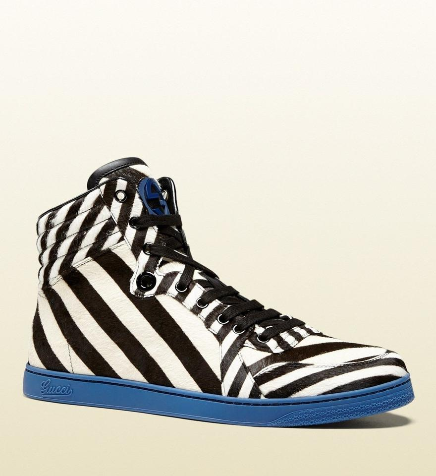 73fb3ecd965 Gucci Black White Blue9092 Mens Zebra Print Calf Hair High-top Sneaker G ...