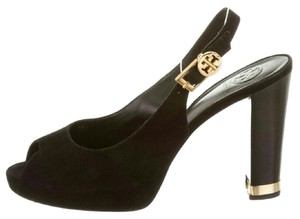 Tory Burch Suede Peep Toe Slingback Black with Gold Hardware Pumps