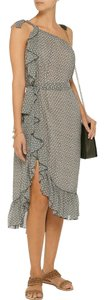 Isabel Marant short dress Gray and White Silk Print One Shoulder on Tradesy