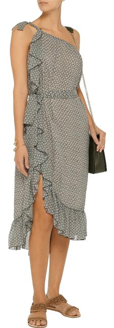 Item - Gray and White Aiden Printed One-shoulder Silk-chiffon Mid-length Short Casual Dress Size 8 (M)