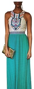 Teal, white, multi colors at top Maxi Dress by Decrease