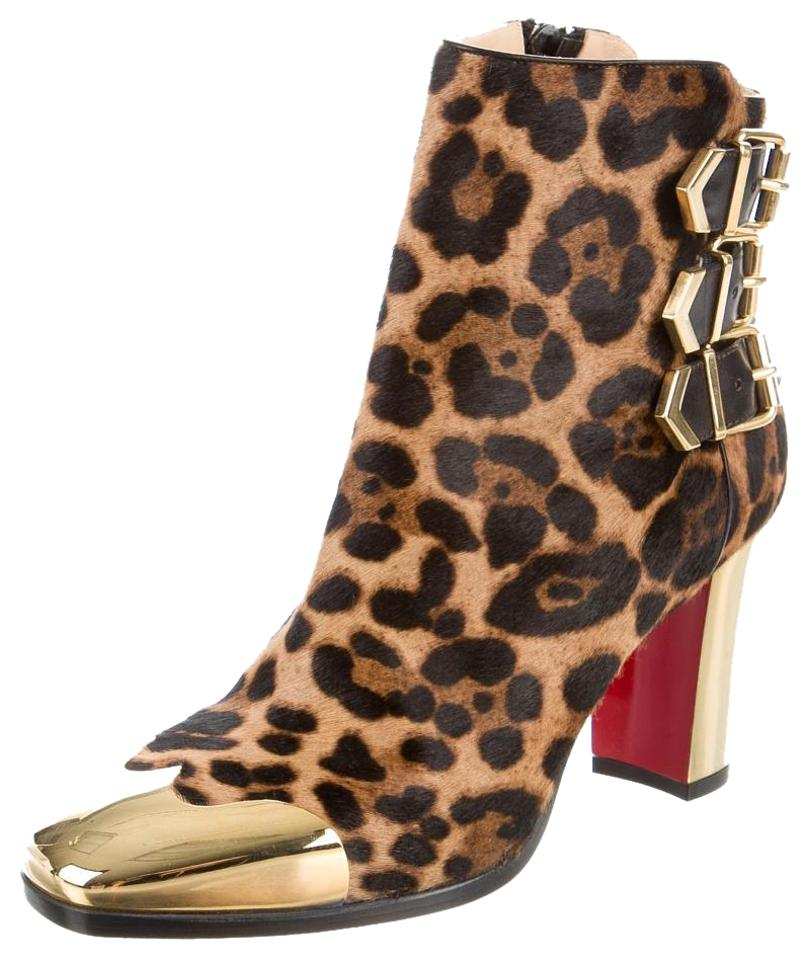Christian Louboutin Brown Black Gold Tan Ponyhair Leopard Metal Gold-tone Ankle Cap-toe Ankle Gold-tone 37.5 Boots/Booties a1d3a1
