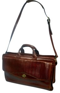 Jack Georges Jack Sienna Leather Flap Over Laptop Bag