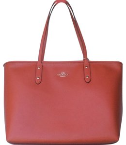 Coach Travel Leather Tote in Carmine