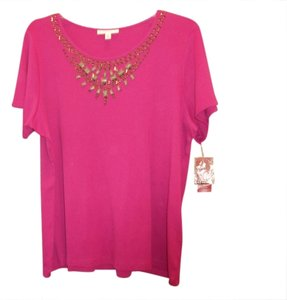 JM Collection New Beaded T Shirt Magenta/fuchsia pink