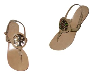 Tory Burch Leather SAND/GOLD (BEIGE) Sandals