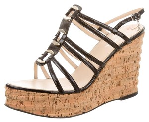 Chanel Cork Strappy Silver Hardware Black, Beige Platforms