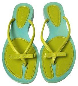 Cole Haan Leather Flip Flop Bright Color-blocking Turquoise Flats