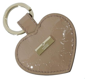 Gucci GUCCI 19915 Heart Shaped Patent Leather Microguccissima Key Chain