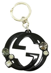 Gucci GUCCI 354359 GG Plexi Glass Charm with Swarovski Crystals Key Ring, Black