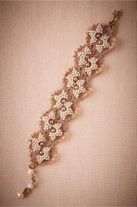 BHLDN Metallic Bronze Gold Ivory Blush Tones Incredible Crochet Seed Pearl Bracelet