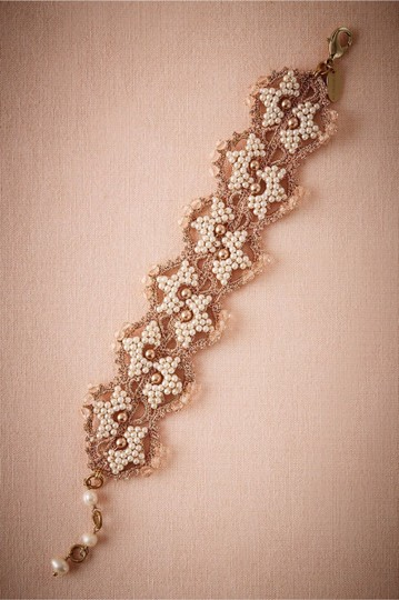 BHLDN Metallic Bronze Gold Ivory Blush Tones Incredible Crochet Seed Pearl Bracelet Image 0