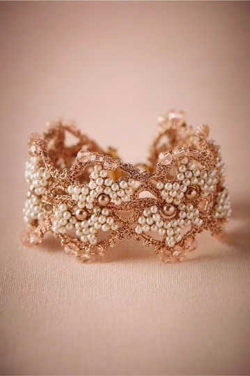 BHLDN Metallic Bronze Gold Ivory Blush Tones Incredible Crochet Seed Pearl Bracelet Image 1