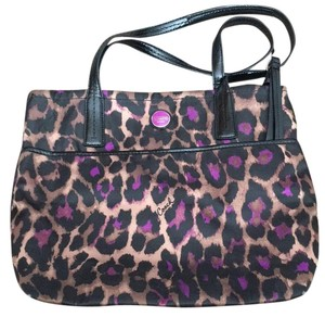 Coach Satchel in Purple And Brown Leopard Print