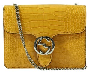 Gucci Handbag Handbag Purse Crocodile 387609 Satchel in Yellow