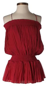 Catherine Malandrino Pleated Silk Blend Top Red
