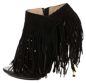 Hervé Leger Fringed Gold Suede Leather Black Boots