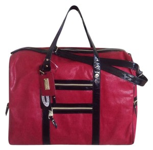 Steve Madden Red Sateen Trimmed In Black Patent Leather Travel Bag