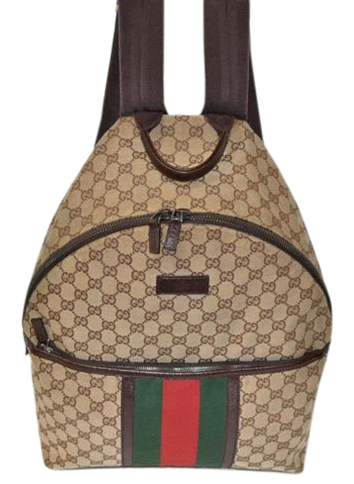 30a84756c0d Gucci Gg Web with Heritage Stripe Tan Canvas Backpack - Tradesy