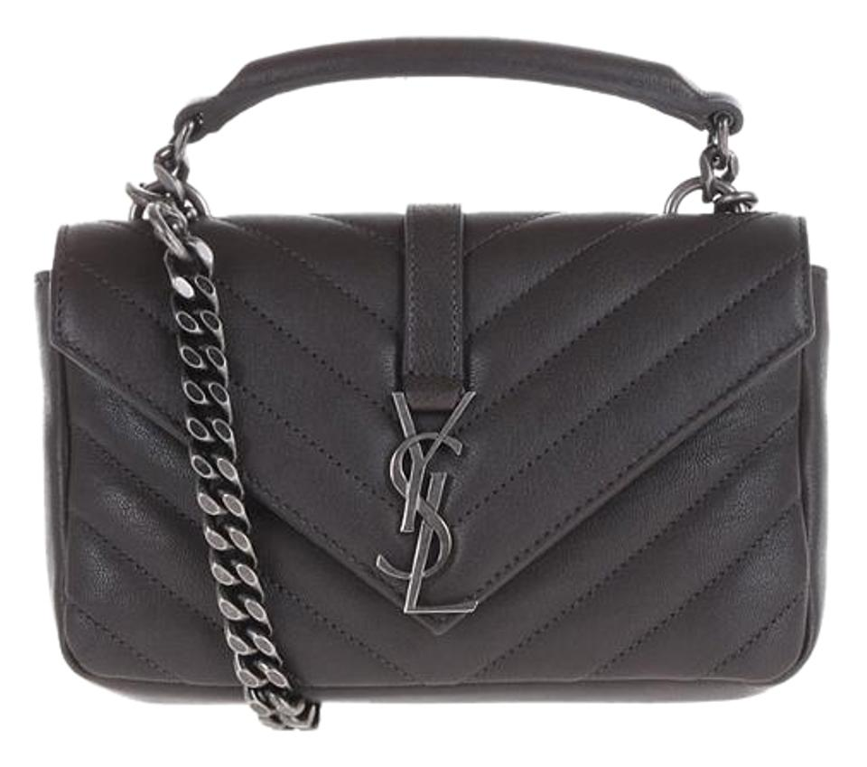 8d3619bd66 Saint Laurent Chain Wallet College Matelasse Dark Anthracite Leather Cross  Body Bag
