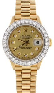 Rolex Rolex President Ladies Yellow Gold 26MM Watch 69178 with Diamond Bezel and Dial