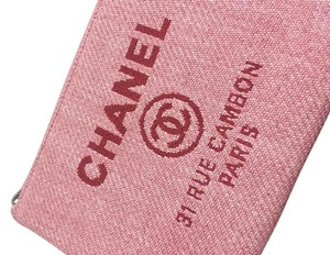 Chanel Deauville Nylon Canvas Pink Clutch