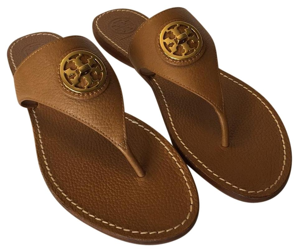 Tory Burch Royal Tan New Sandals In Box Selma Flat Thong Pebbled Leather Sandals New 91481e