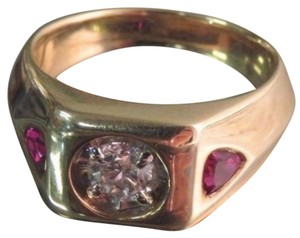 14K Yellow Gold Men's Diamond And Ruby Ring Size 10.5 - CLASSIC