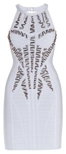 Hervé Leger Bodycon Beaded Cutout Dress