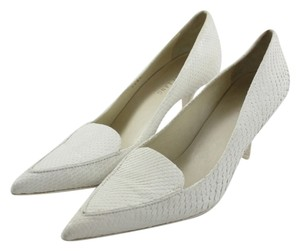 Helmut Lang Snakeskin Work Low Heel Penny Lane Pointed Toe White Pumps