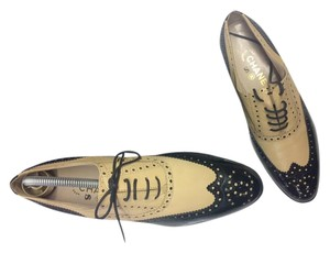 Chanel Vintage Oxfords BEIGE/BLACK PATENT Flats