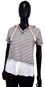 Ya Los Angeles Striped Hooded Short Sleeve T Shirt White