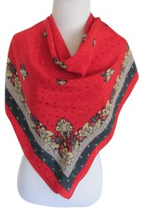 Ginnie Johansen Wow! Ginnie Johansen Red Jacquard Large Silk Scarf // 35